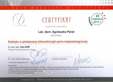 Agnieszka Peret Certyfikaty