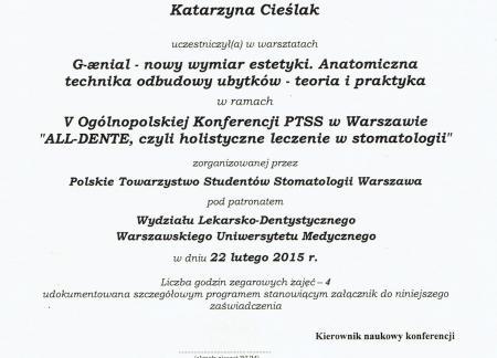 Katarzyna Cieślak Certyfikaty