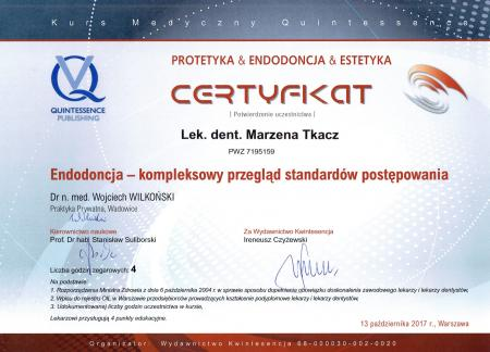 Marzena Tkacz Certyfikaty