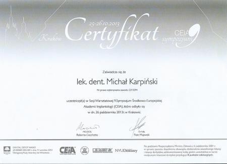 Michał Karpiński Certyfikaty