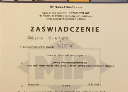 Paulina Dunajska Certyfikaty