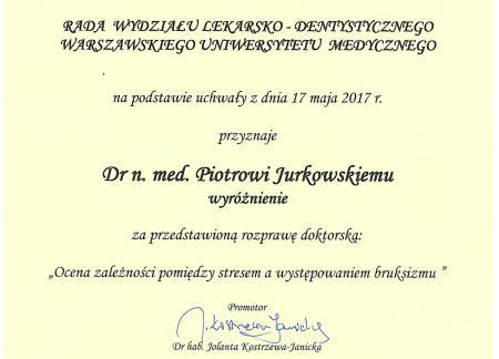 Piotr Jurkowski Certyfikaty