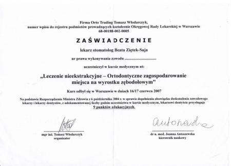 Beata Ziętek-Saja Certyfikaty